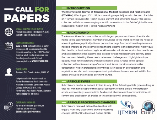 Call For Papers: Special Collection On Human Resources For Health In Asia